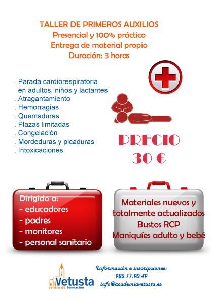 Nuestro taller de primeros auxilios 100% práctico e impartido todo el año.