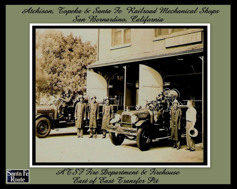 "8x10 blk/wht Inside the Santa Fe Mechanical Shops San Bernardino, Ca. the ""Santa Fe Fire Department"" by antiquerails1 on Etsy"
