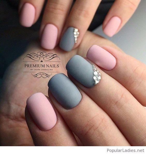 Matte Pink And Grey Manicure Short Gel Nails Nail Art Designs Summer Gel Nail Art Designs