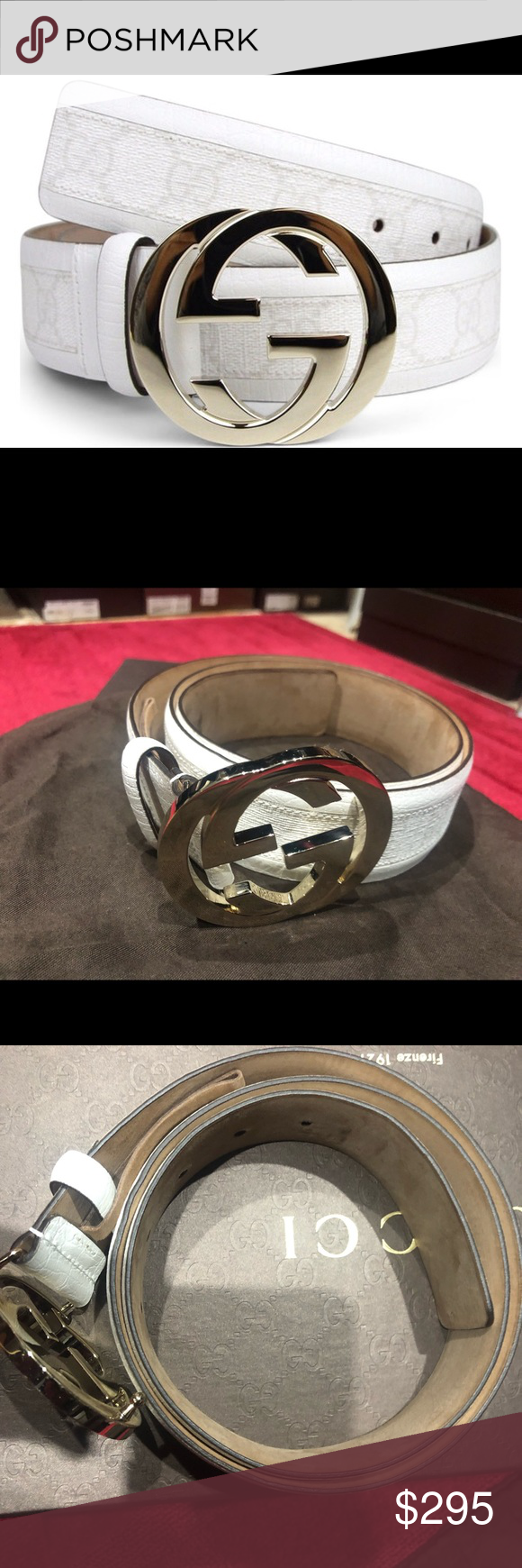b7c917fda Men's Gucci GG white leather gold buckle belt You are buying brand new  Gucci GG belt