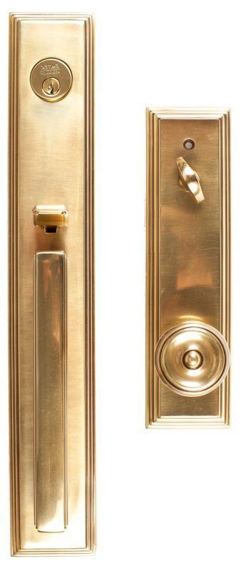 Emtek 4212us7 French Antique Melrose Single Cylinder Keyed Entry Handleset From The Brass Modern Collection In 2021 Front Door Hardware Entry Door Hardware Front Door Handles