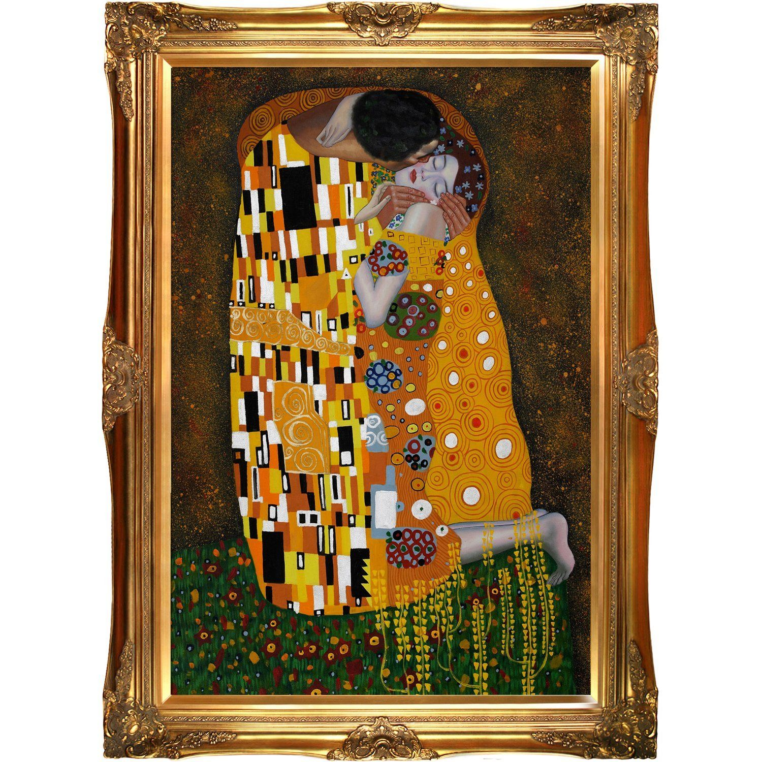 overstockArt Klimt The Kiss Oil Painting with Victorian Gold Frame ...