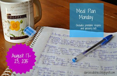 Darcie's Dishes: Meal Plan Monday: 8/17-8/23/15 // A one week meal plan that uses common ingredients that you can find at any major grocery store. All meals, drinks and snacks are sugar-free and this menu is 100% THM compliant.