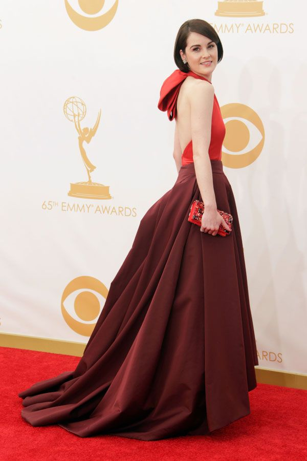 Michelle Dockery in two-tone burgundy and red silk Prada – 2013 Emmy Awards Red Carpet