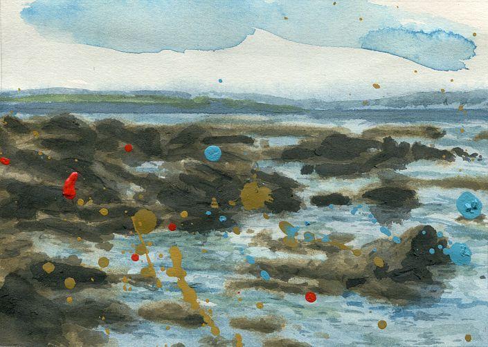 Hugo Stuber: O.T. (Meeresblick Nordspanien 3). #Aquarell, #Acryl, #Bleistift, #Tusche und Wasser auf Papier #piscinas #loredo #Cantabria #Nordspanien #Aquarellstudie #Meer #hugostuber #startyourart www.startyourart.de