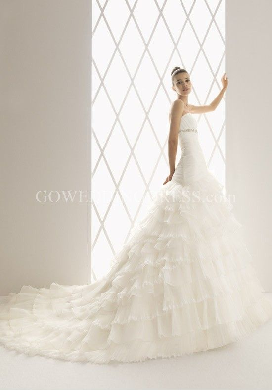 Princess Strapless Floor Length Attached Organza Beading Wedding Dress Style 103 - Balada
