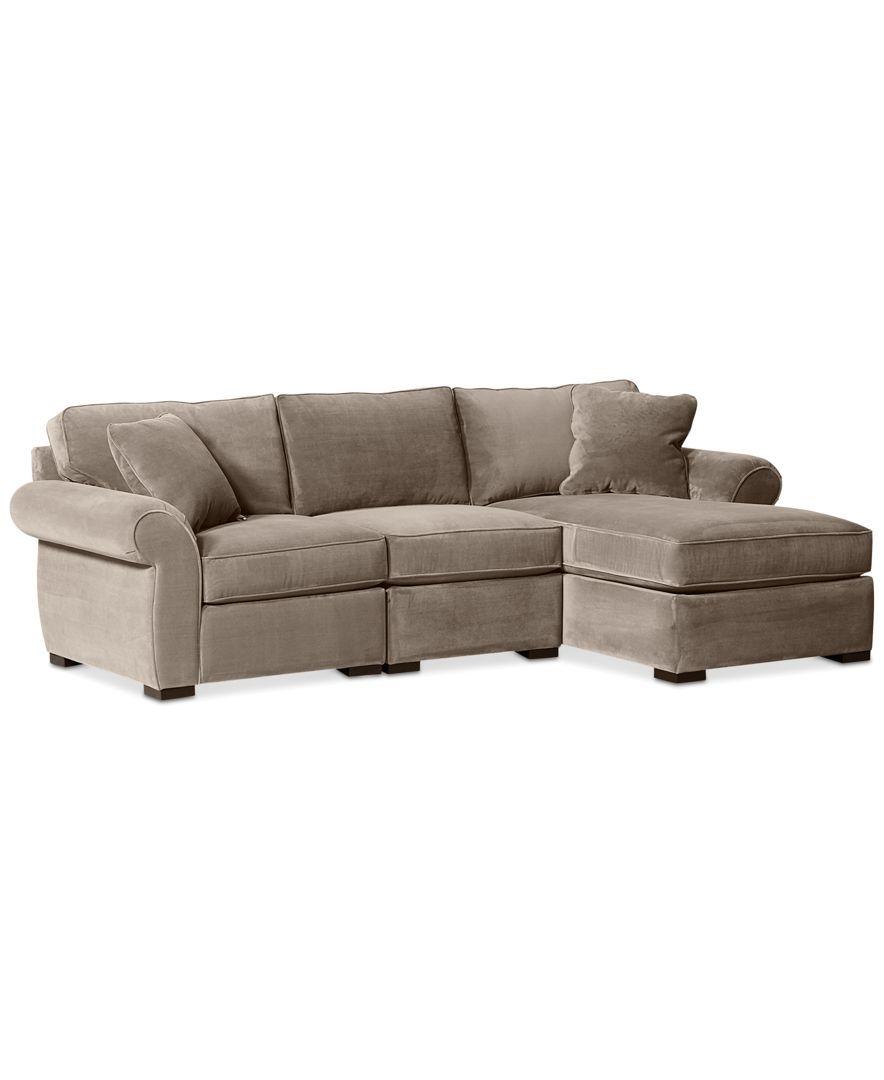 Trevor fabric 3 piece chaise sectional sofa