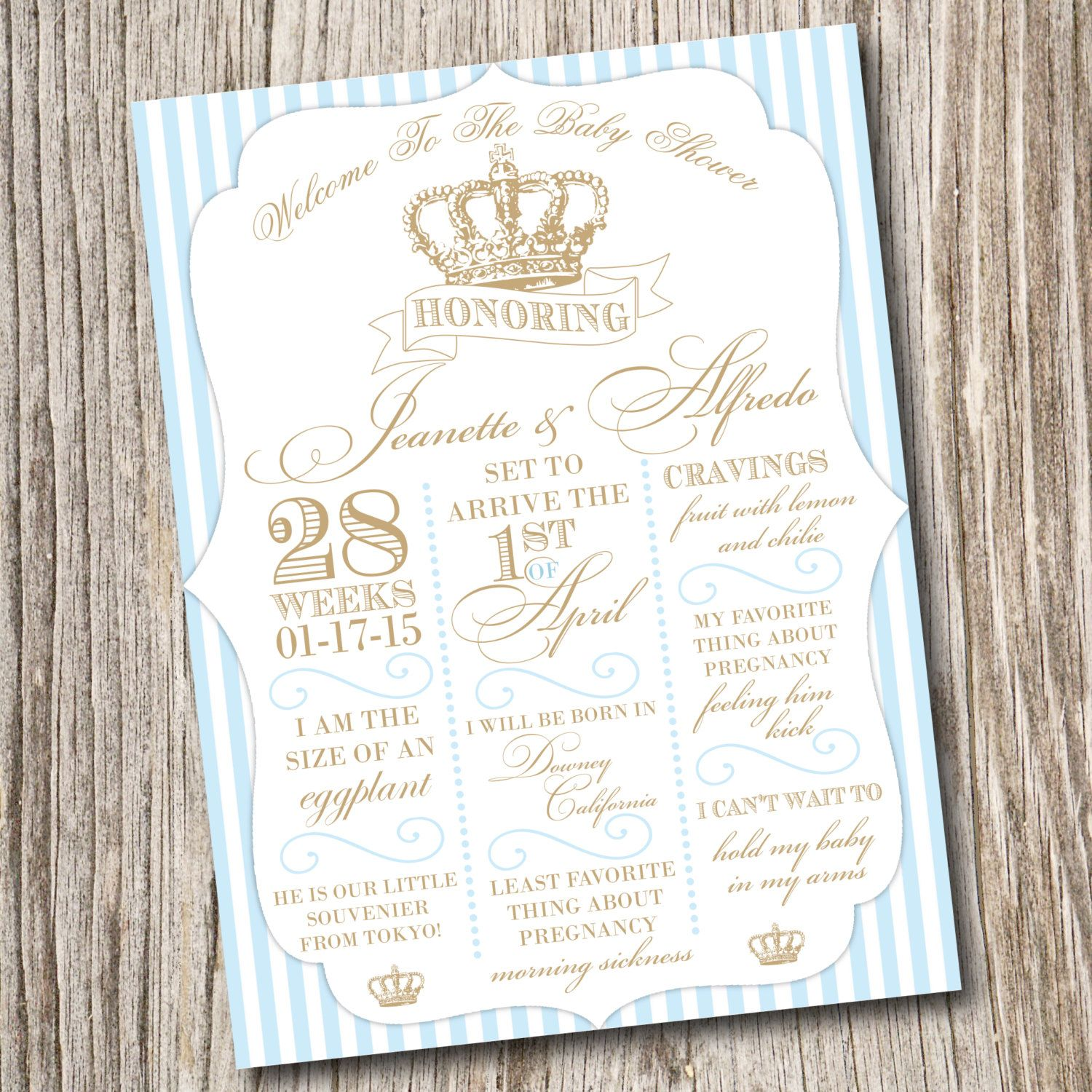 Boy Baptism Invitation Christening Invitation Little Prince Baby