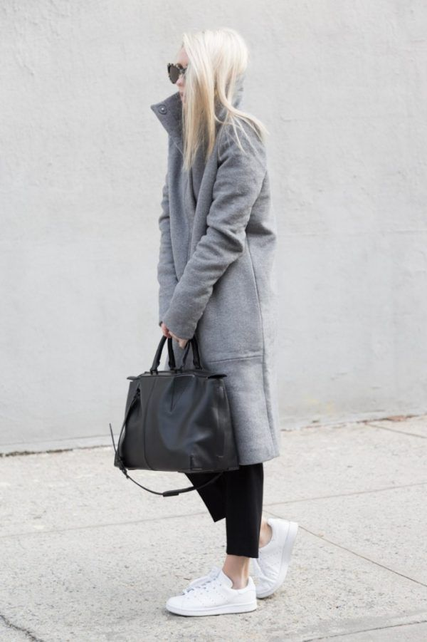 d559c7eb56f Figtny is wearing a grey funnel neck coat from Oak + Fort