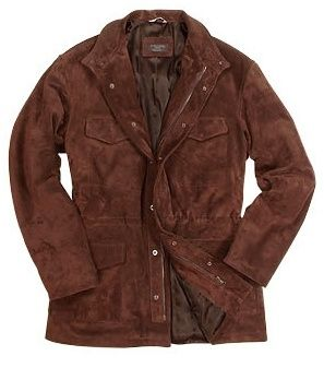 $659, Dark Brown Suede Field Jacket: Forzieri Brown Four Pocket Italian Suede Leather Jacket. Sold by Forzieri. Click for more info: https://lookastic.com/men/shop_items/65823/redirect