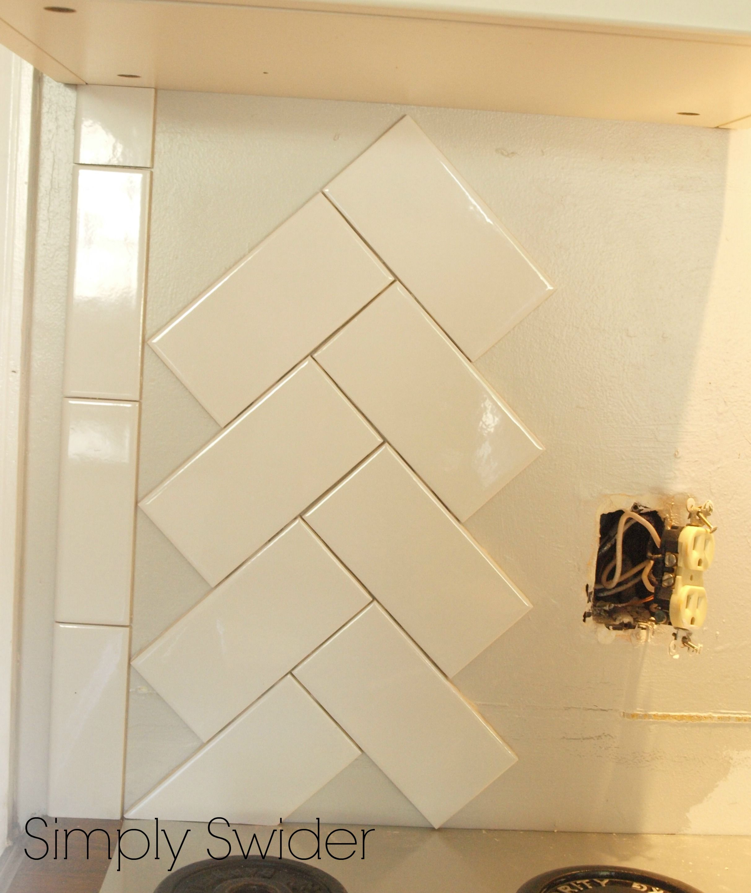 Subway Tile Patterns Kitchen Subway Tile Back Splash In A Herringbone Pattern Simply Swider