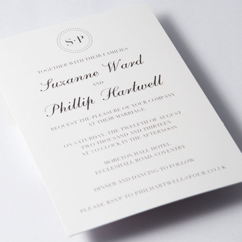 simple wedding invitations: initials up top, scripted names and ...