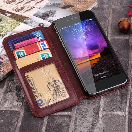 Hot Sale PU Leather Credit Card Holder Wallet Case Brown Cover For Mobile  Cell Phones 9e6b5103f0