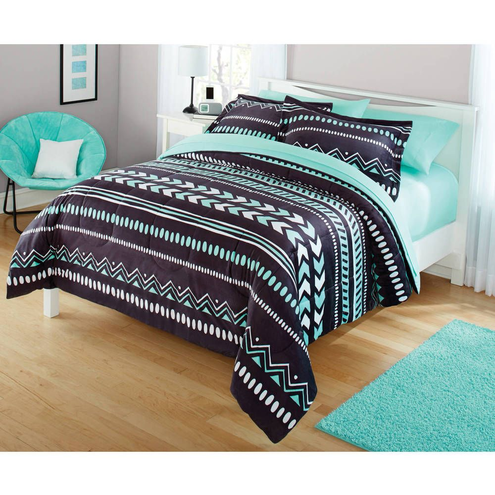 Southwest Aztec Tribal Comforter Shams Set Black Teal Mint Bedding Full Queen Ebay