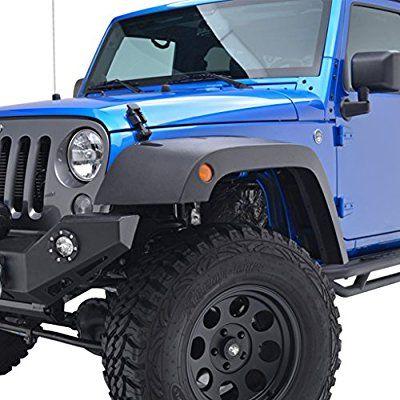 E-Autogrilles 07-16 Jeep Wrangler JK Wide Pocket Rivet Style Black Fender Flares (17194-FBA)
