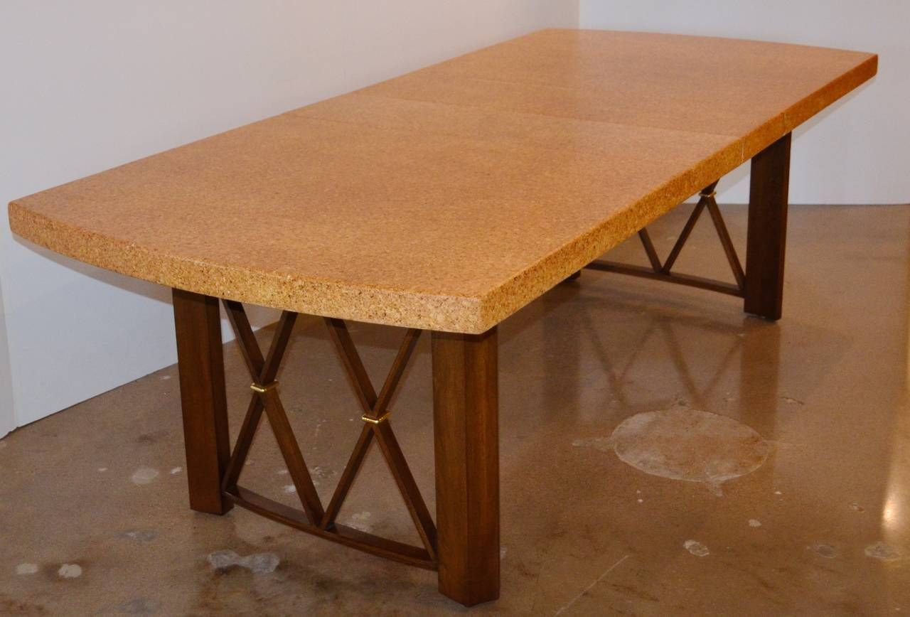 Paul Frankls Cork Walnut And Brass Dining Table For Johnson Furniture Co