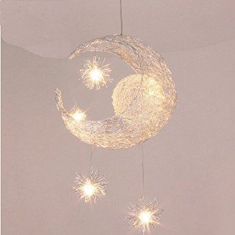 Hanging stars from the ceiling google search room decor nilight creative moon and stars children bedroom living room ceiling light pendant hanging lamp chandelier mozeypictures Choice Image
