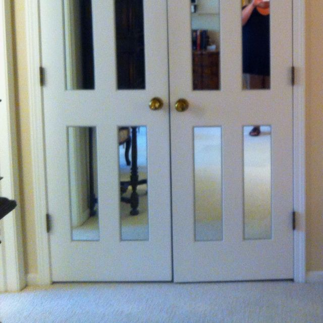 Mirrors Cut And Placed On Six Panel Closet Doors Gives The Illusion