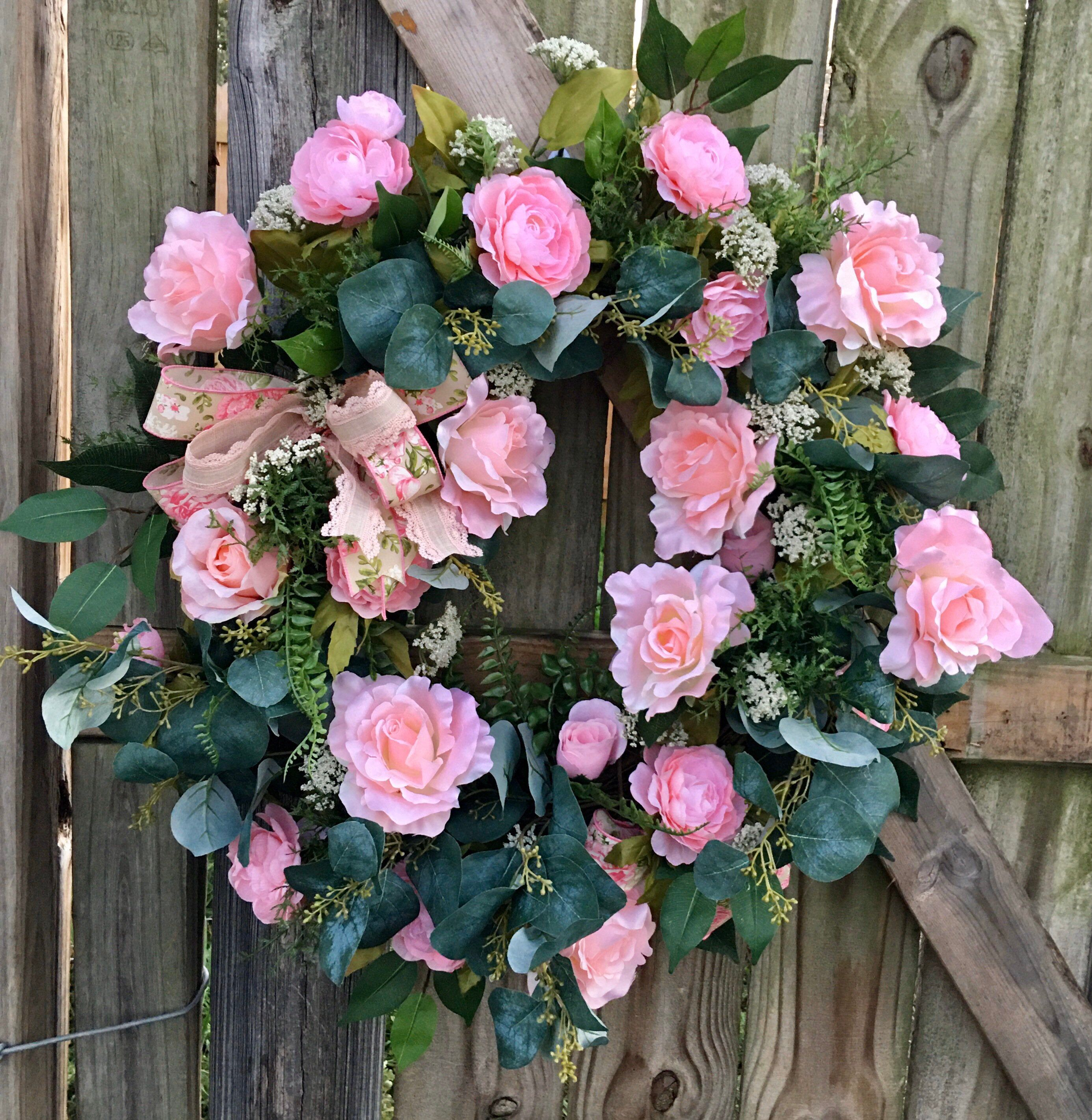 Pink Rose Wreath Pink Floral Wreath Roses Wreath Peonies Etsy In 2021 Rose Wreath Floral Wreath Rose Decor