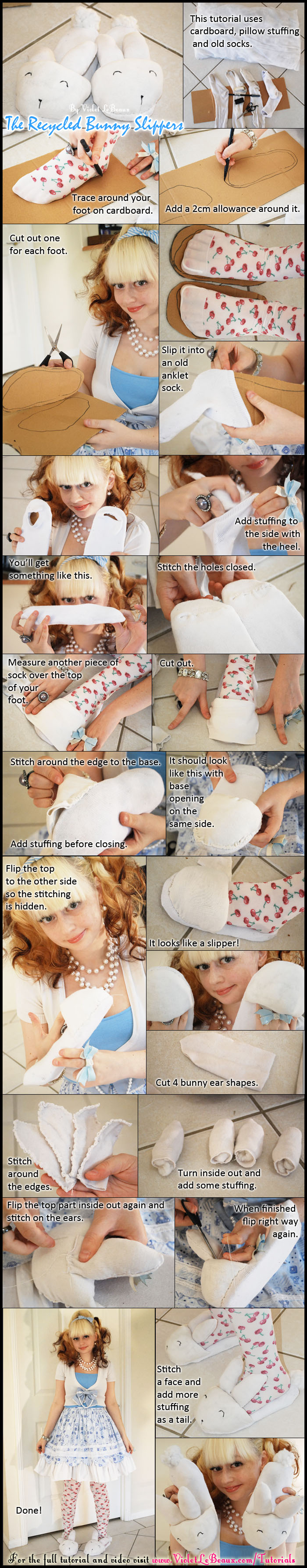 A simple tutorial on how to make bunny slippers out of old socks and pillows.