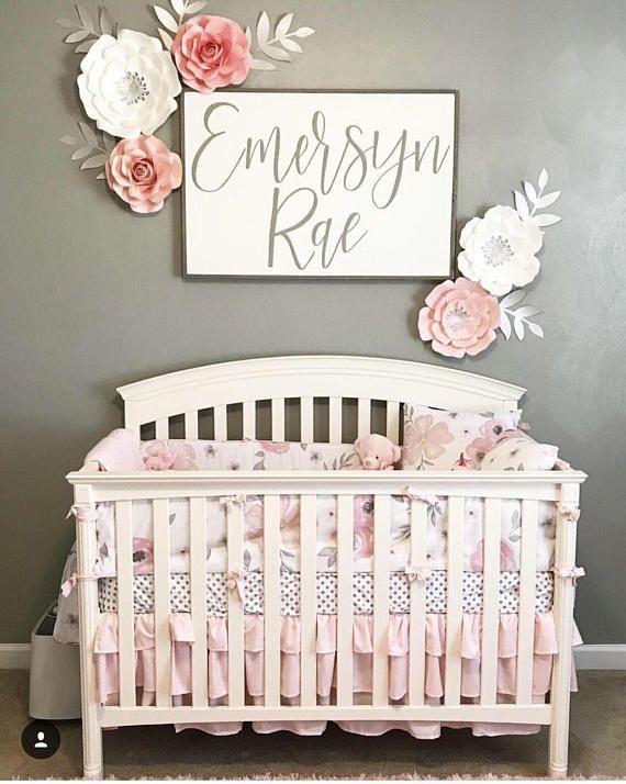 Nursery sign - personalized name sign - baby boy - baby girl - baby shower - wooden sign #baby #babygirl #newborn #babygirlname #babynames #girlnames #sign #nursery #pinkandgray #gray #crib #nurserydecor #flowers #affiliate