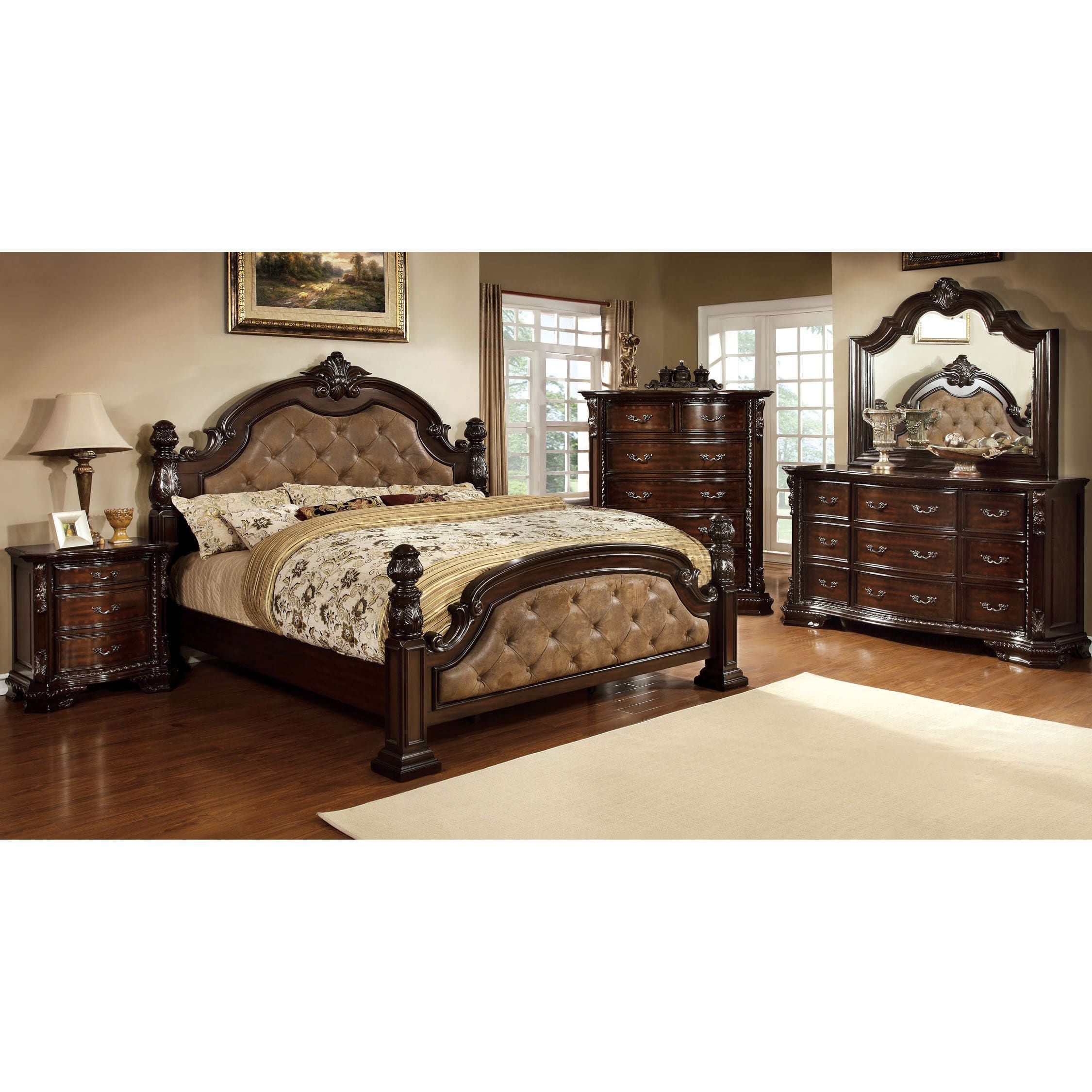 furniture of america kassania luxury 4 piece leatherette bedroom set