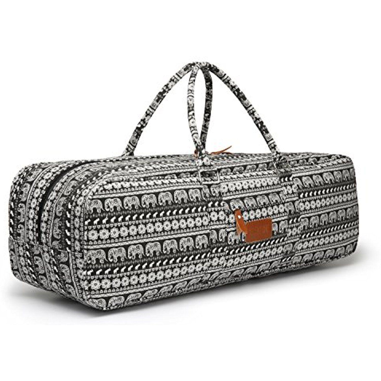 Elenture Canvas Yoga Mat Tote Bag with Storage Pockets cc2ecadacddb9