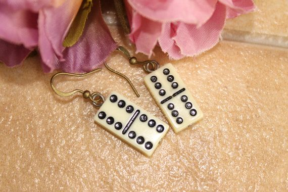 Darling Domino Earrings , Steamp Punk, Hipster,By: Tranquilityy