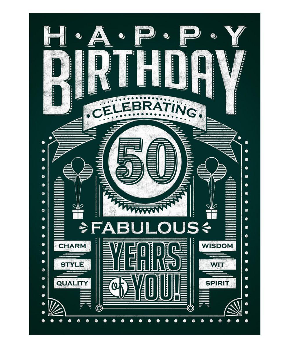 50th birthday chalkboard oversized greeting card