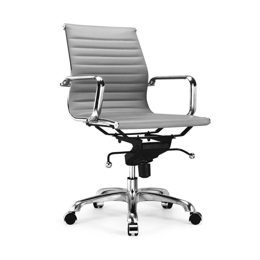 Century Grey Modern Classic Aluminum Office Chair Set Of 2