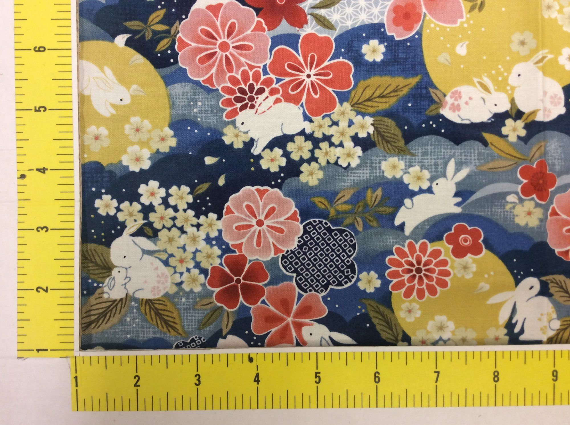 Moon Garden Bunny Rabbit Asian Japanese Style Cotton Quilt Fabric