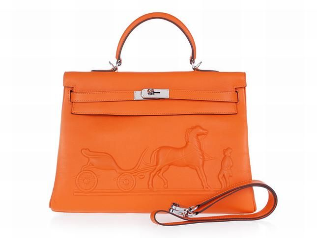 39e87ad390c4 Hermes Kelly 35 Horse Draw Carriage Embossed Orange Silver Bag ...
