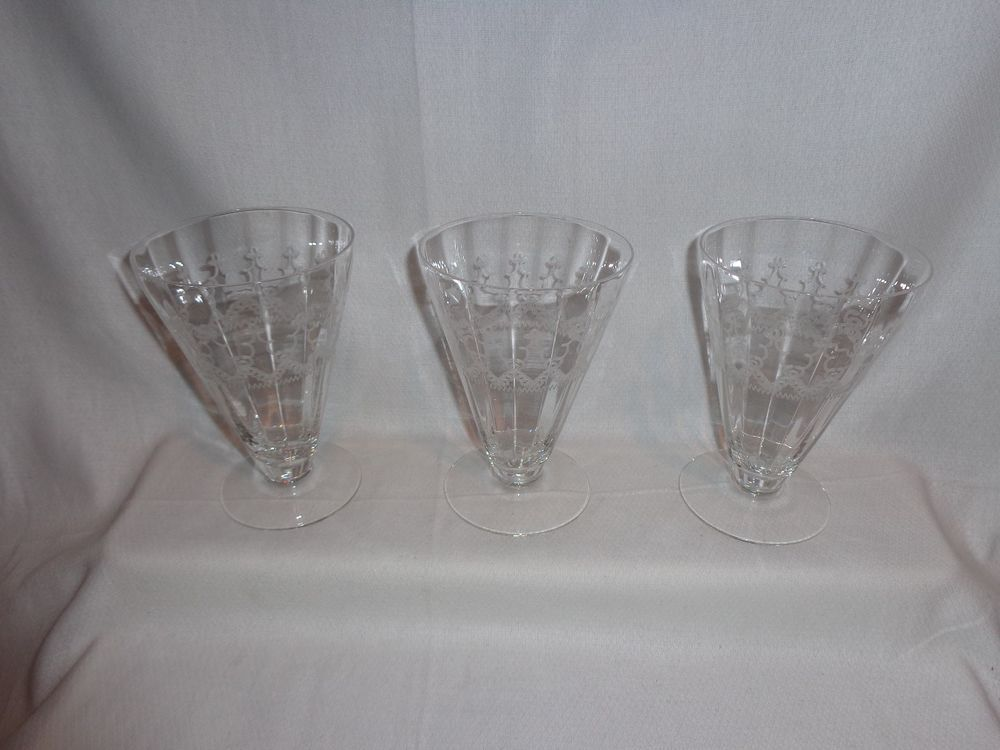Vintage Glass Tiffin Glass Needle Etched Optic Ice Tea Parfait Glasses (3)  | eBay