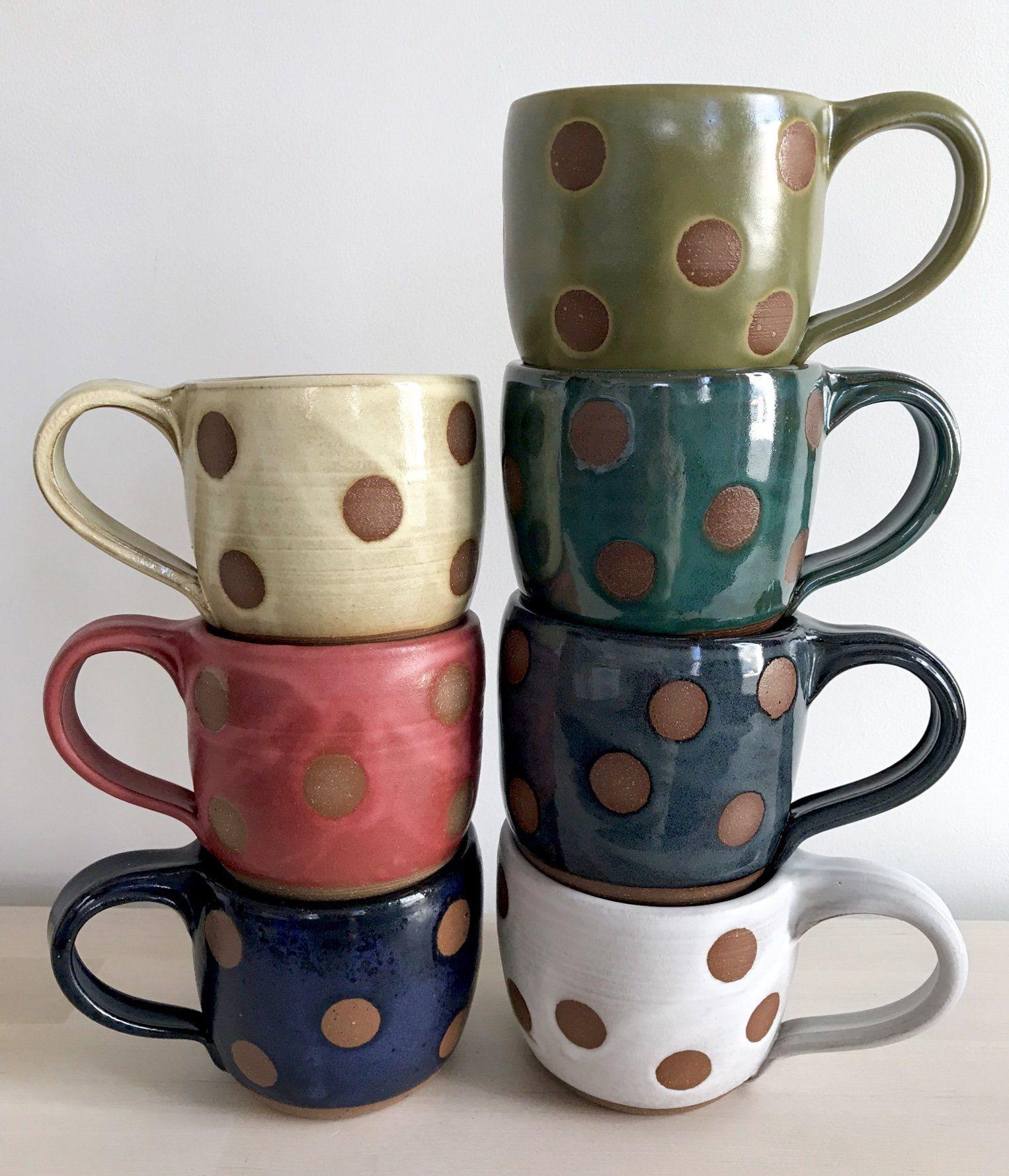 Stripe & Dot Mugs by Louise Bilodeau (Ceramic Mug)   Artful Home