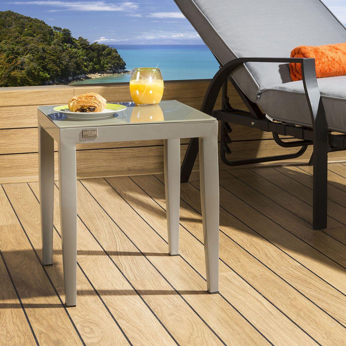 Outdoor End Table Garden Side Table Aluminium Grey Square Quatropi
