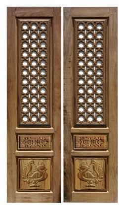 Image result for contemporary pooja room door designs - Wall mounted wooden temple design for home ...