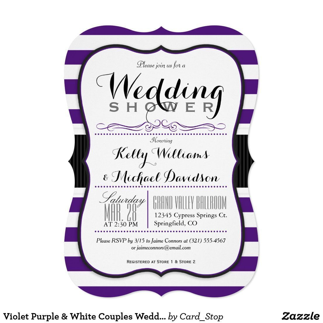 Violet Purple White Couples Wedding Shower Card Elegant Formal