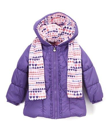Loving this Purple Puffer Coat & Watermelon Scarf - Infant, Toddler &…