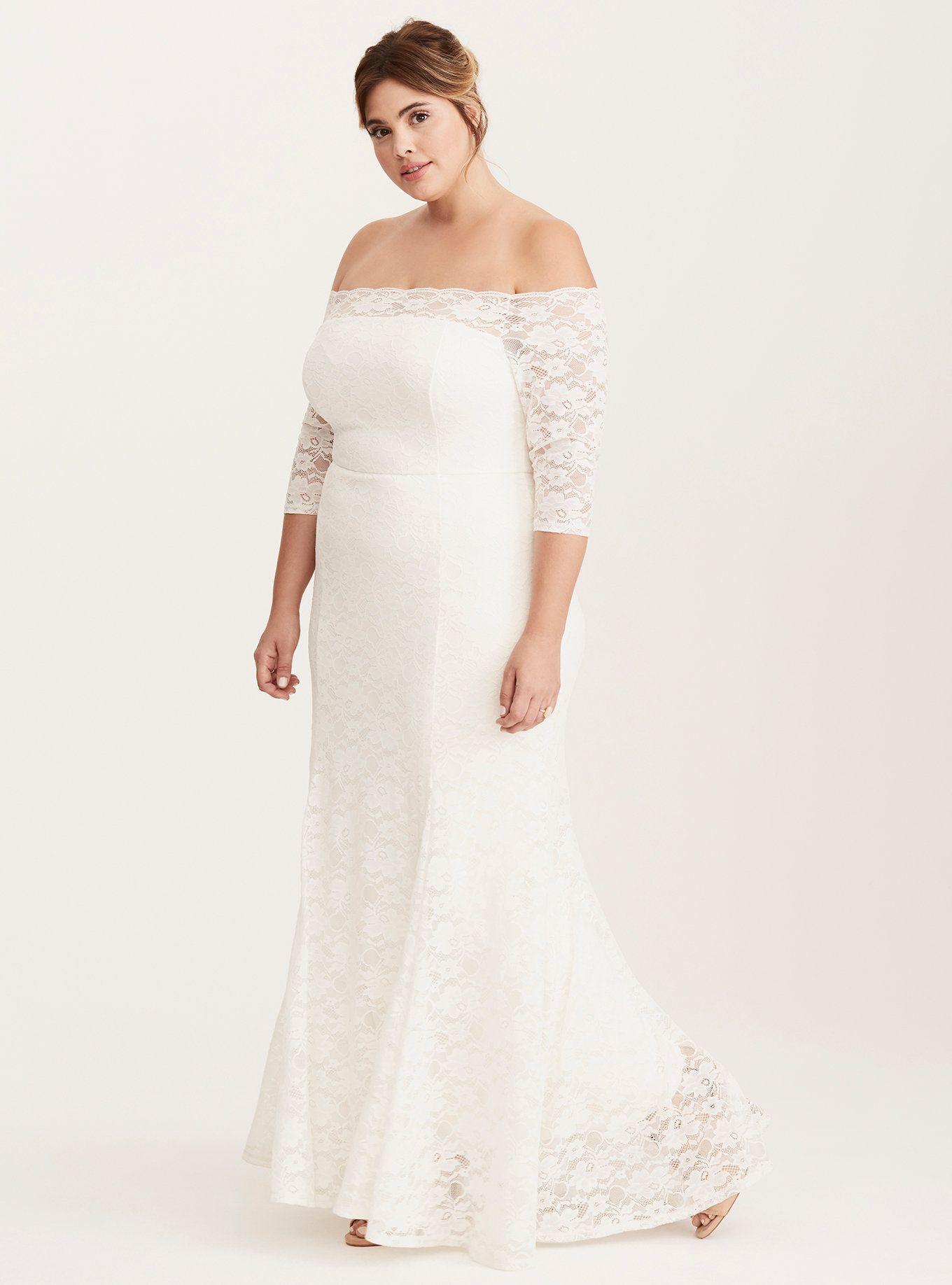 Ivory Lace Off Shoulder Fit Flare Wedding Dress Fit Flare