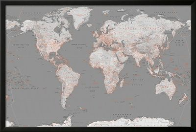 World Map Grey with Orange