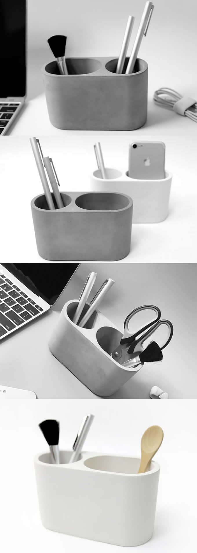 Concrete Multi Function Minimalist Vase Office Desk Organizer Pen Pencil Holder Stand Paper Clip Holde Office Supplies Gift Cool Office Supplies Office Gifts