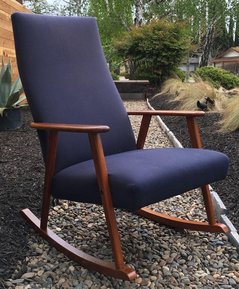 Mid Century Danish Modern Johanson Design Teak Rocking Chair Rocker Sweden Ebay Teak Rocking Chair Mid Century Modern Rocking Chair Modern Rocking Chair