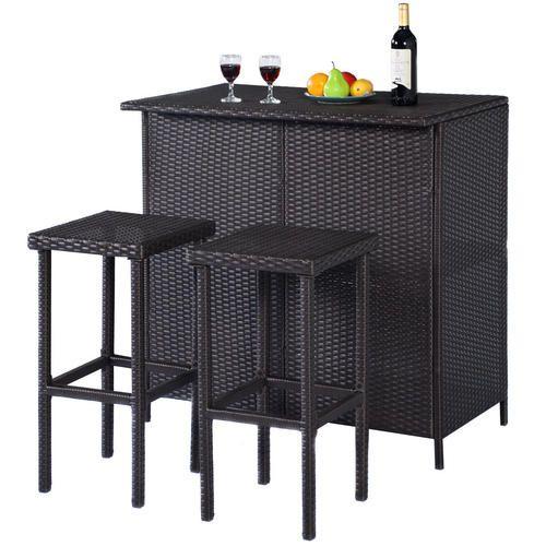 globe house products ghp 3 pcs plastic rattan wicker bar stools
