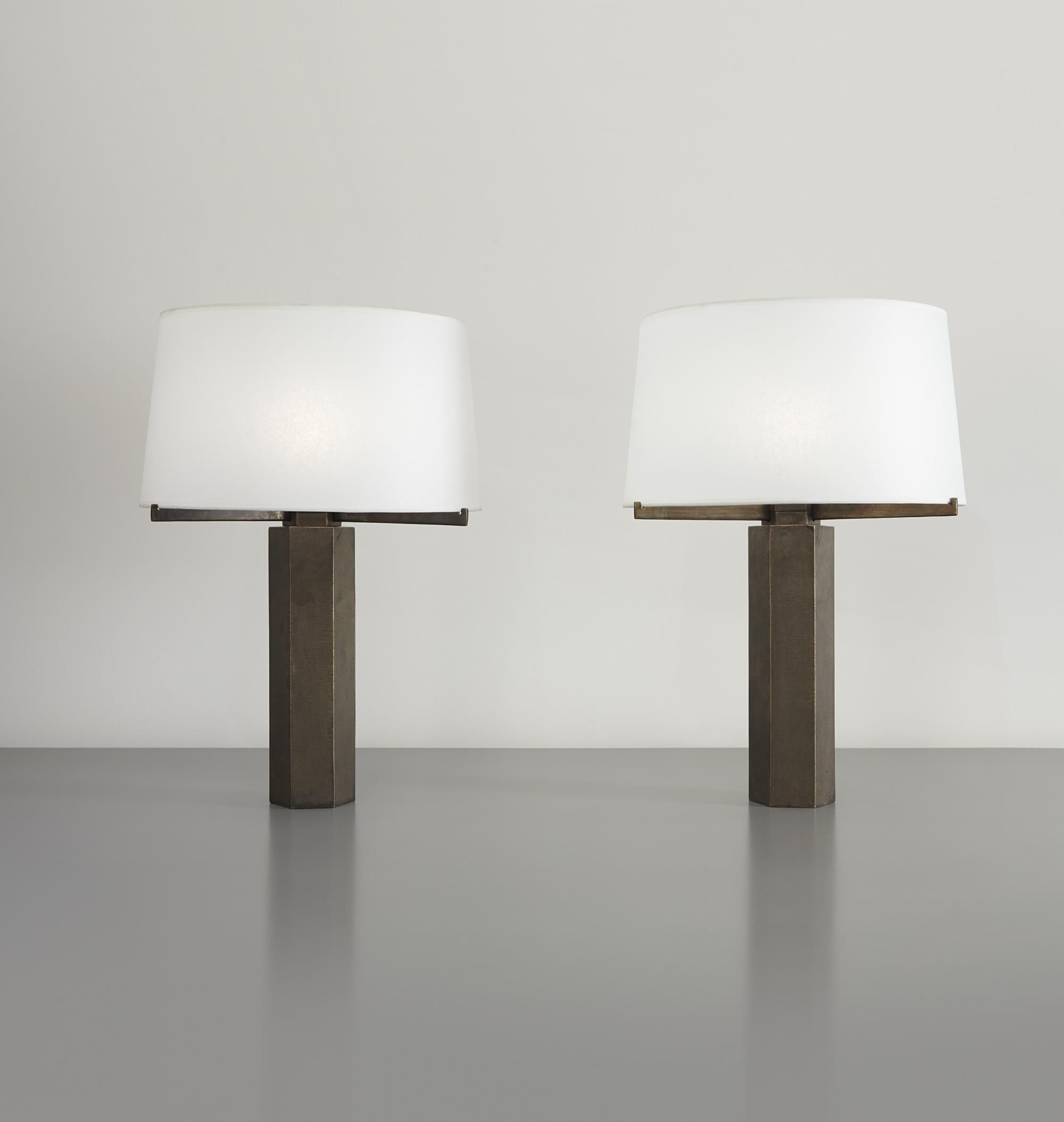 JULES WABBES Pair Of Table Lamps, Circa 1970 Bronze, Synthetic Vellum (2)