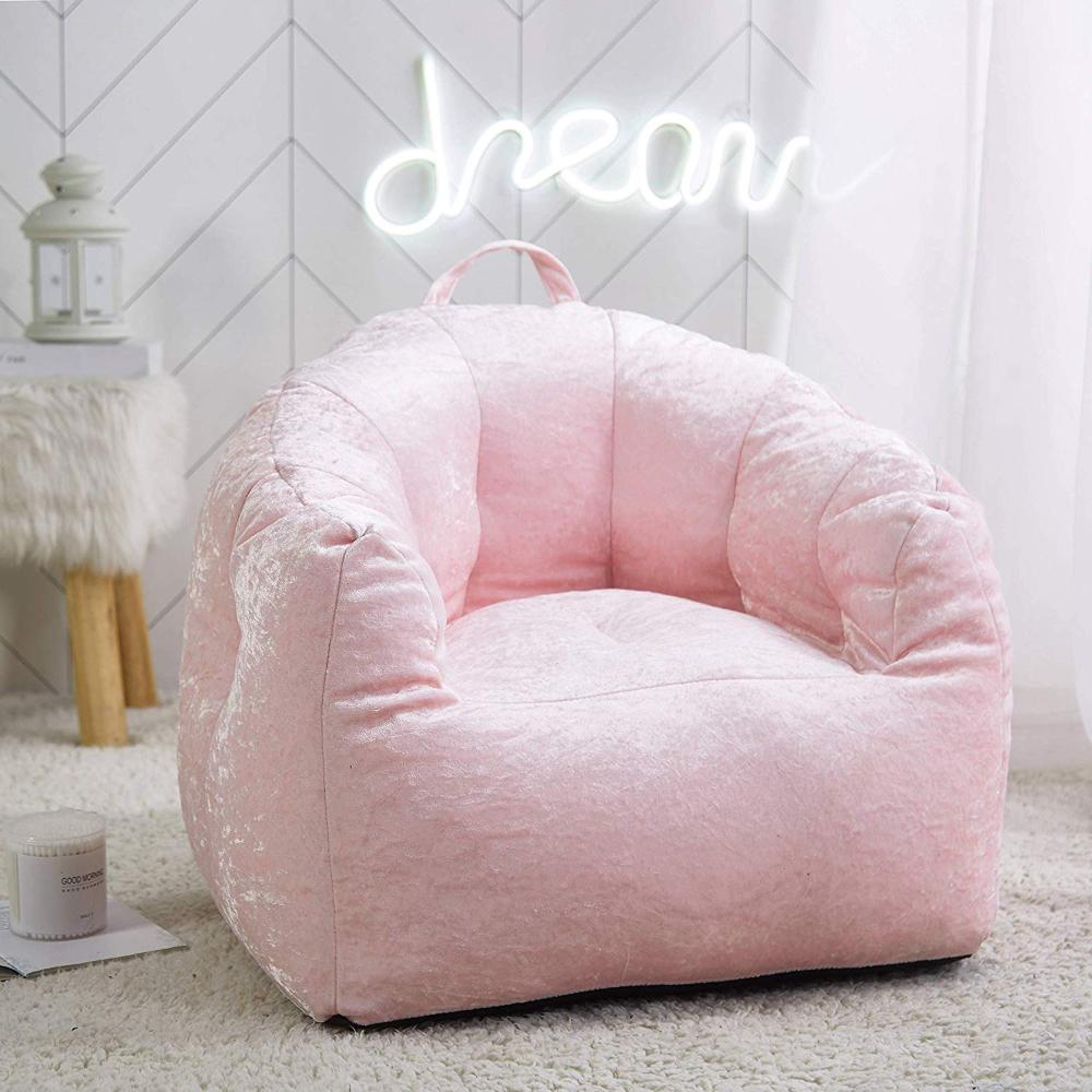 AmazonSmile Urban Shop. Velvet Bean Bag Chair in Blush