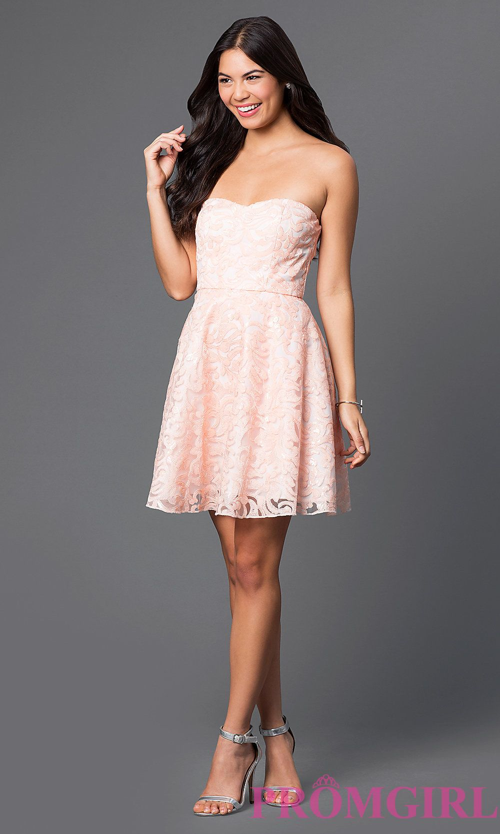 Short Strapless Lace Pink Dress Style MT 7560