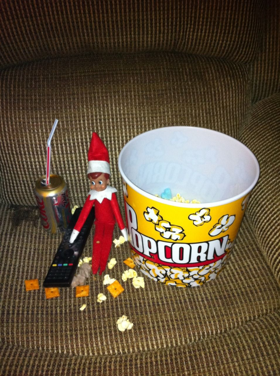 Elf R and R Found our elf sitting in recliner eating popcorn cheez