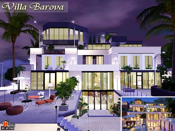 Modern Luxurious Villa Barova By Autaki Sims 3 Downloads Cc Caboodle Sims House Sims House Plans Sims 4 House Design