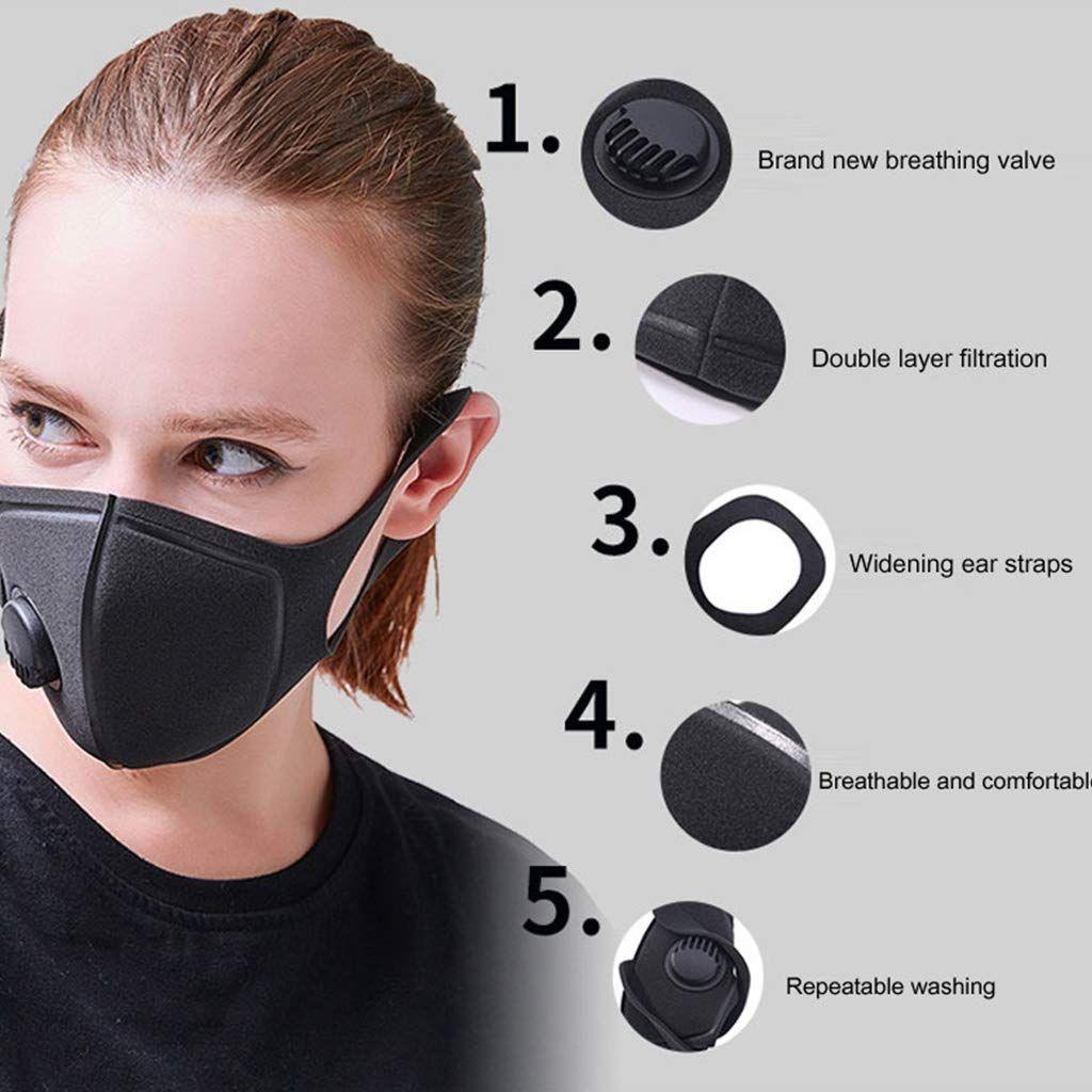Respiratory Dust Mask Anti-fog Haze PM2.5 Pollen Outdoor 3D Washable Men Women W