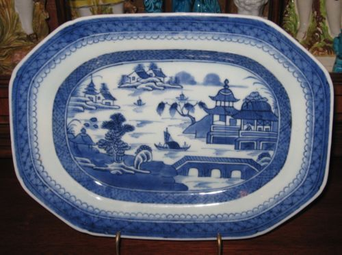 """19th CENTURY BLUE & WHITE CHINESE EXPORT PORCELAIN CANTON PLATTER 11"""""""